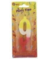 Arpex Świeczka Party Time nr 9 żółto-czerwona (ARPE0126)