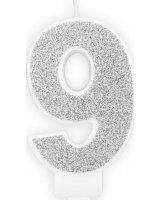 Świeczka urodzinowa, cyferka 9, srebrna brokatowa, 7 cm. uniwersalny, PARX1175