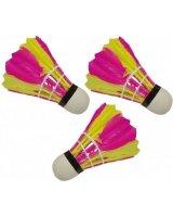 Victoria Sport Lotki do badmintona z piór 3szt. różowo-żółte, 1000756