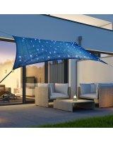 HI Lumarko Żagiel przeciwsłoneczny z 100 LED, jasnoniebieski, 2x3 m