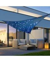 HI Lumarko Żagiel przeciwsłoneczny z 100 LED, jasnoniebieski, 3,6x3,6x3,6 m