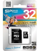 Karta Silicon Power MicroSDHC 32GB Class 10 + adapter (SP032GBSTH010V10-SP), SP032GBSTH010V10SP