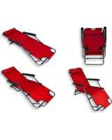 CreativeHome Leżak plażowy ogrodowy składany czerwony, AG219C