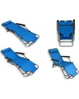 CreativeHome Leżak plażowy ogrodowy składany niebieski, AG219E