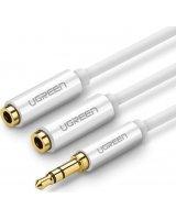 Ugreen Rozdzielacz audio AUX kabel jack 3,5 mm UGREEN AV123, 25cm (biały), UGR644WHT