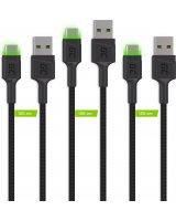 Kabel USB Green Cell Zestaw 3x Kabel Green Cell GC Ray USB-C 120cm z zielonym podświetleniem LED, szybkie ładowanie Ultra Charge, QC 3.0, KABGCSET02