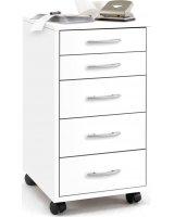 FMD FMD Mobilna szafka z 5 szufladami, biała, 428728