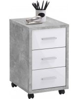 FMD FMD Mobilna szafka z szufladami, betonowy i biel na wysoki połysk, 429441