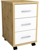 FMD FMD Mobilna szafka z szufladami, dąb artisan i lśniąca biel, 429440