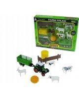 Hipo Zestaw farma z traktorem 10 części w pudełku, HXYC19