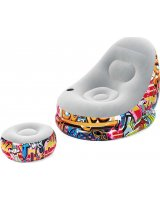 Bestway Pripučiamas fotelis Bestway Graffiti Comfort Cruiser su pakoju, pilkas/įvairių spalvų