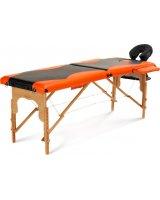 BODYFIT Łóżko do masażu 2 segmentowe dwukolorowe czarno - pomarańczowe, 1041-uniw